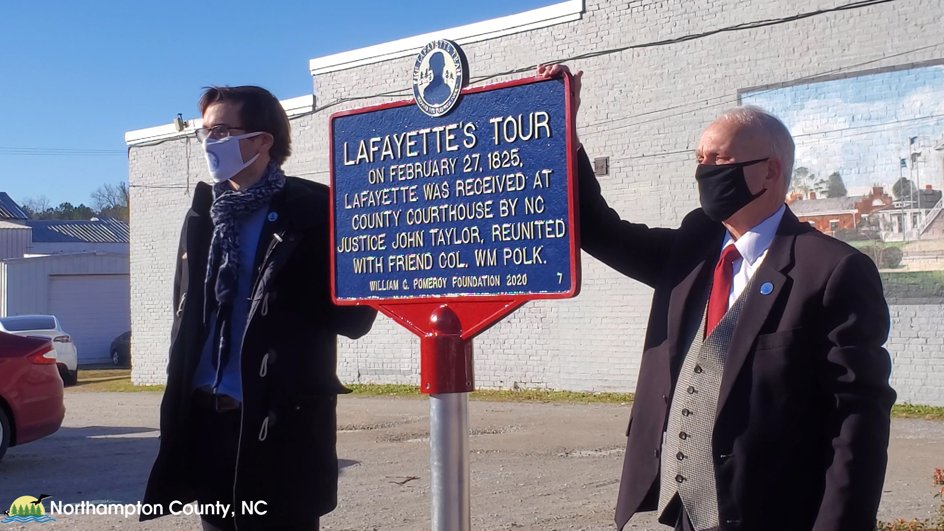 Julien P. lcher, the Founder and President of The Lafayette Trail, Inc. reveals marker in Jackson, NC