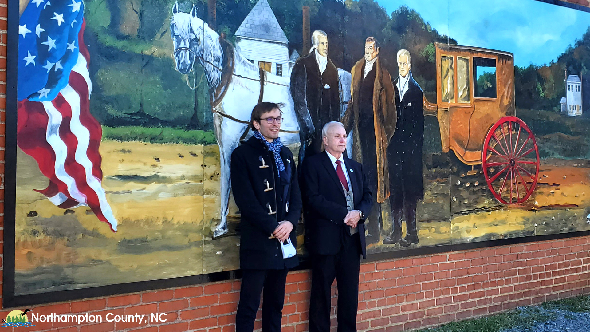 Mural commemorating Lafayette's visit on the west wall of the Embassy Cafe in Jackson NC