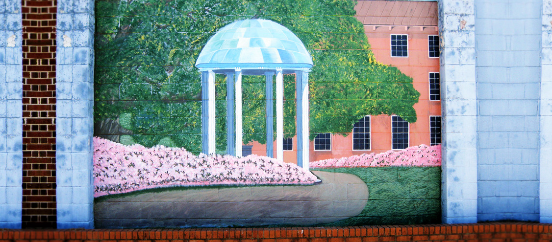 Penny Beasley mural painting in Woodland, NC of UNC Chapel Hill